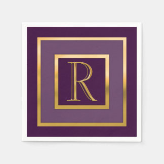 "Any Color with ""Gold"" Border and Monogram Paper Napkin"