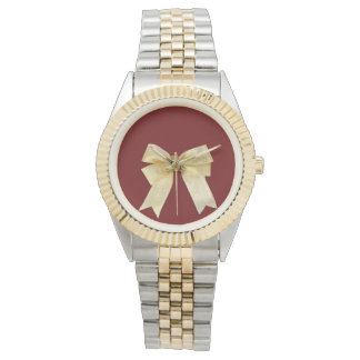 Any Color with Gold Holiday Bow Add Your Text Wristwatch
