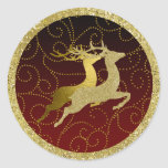 Any Colour Black Ombre Two Gold Reindeer Holiday Round Sticker