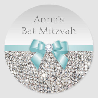 Any Event Faux Silver Sequins Teal Bow Diamond Round Sticker