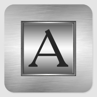 Any Monogram, Initial, Brushed Metal Look Stickers