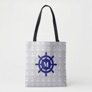 Any Monogram Nautical Anchor Tote Bag