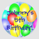Any Name & Age Colourful Birthday Balloons Round Stickers