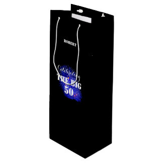 Any Name Celebrating THE BIG 50 - Wine Gift Bag