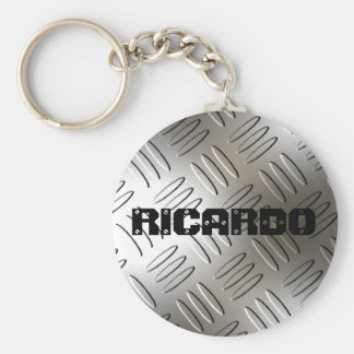 Any Name On Metal Diamond Plate Keychain