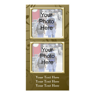 Any Occasion Classic Gold Swirl Photo Card, Family Customised Photo Card