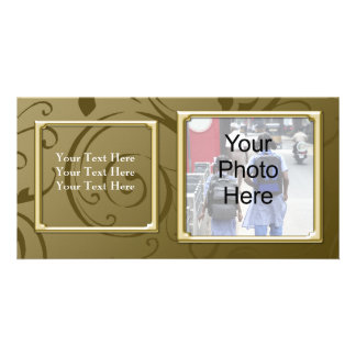 Any Occasion Classy Gold Swirl Photo Card Family