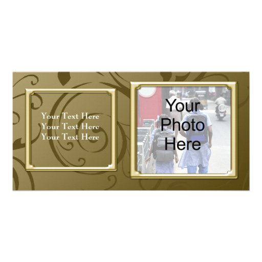 Any Occasion Classy Gold Swirl Photo Card, Family