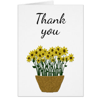 Any Occasion Thank You Card with Basket of Flowers