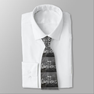 Any Questions Chalk Board Text Tie