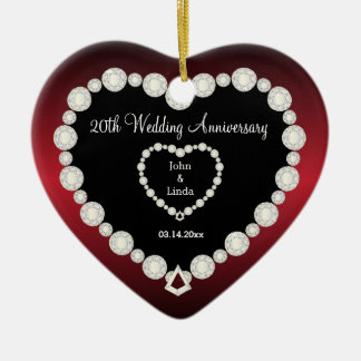 Any Wedding Anniversary | Garnet Red | DIY Text Ceramic Heart Decoration
