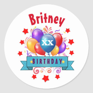 Any Year Birthday Festive Colorful Balloons V40D Classic Round Sticker