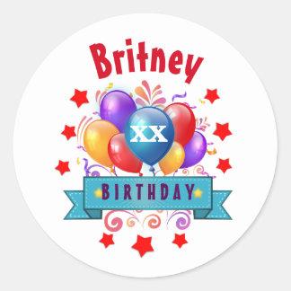 Any Year Birthday Festive Colorful Balloons V40D Round Sticker