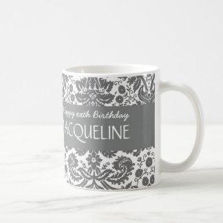 Any Year Birthday For Her Trendy Damask B05 Basic White Mug
