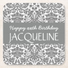 Any Year Birthday For Her Trendy Damask B06 Square Paper Coaster