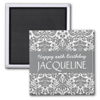 Any Year Birthday For Her Trendy Damask B08 Square Magnet
