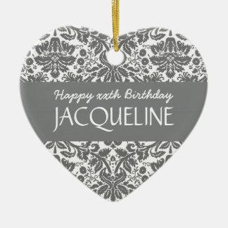 Any Year Birthday For Her Trendy Damask B10 Ceramic Ornament