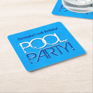 ANY YEAR Birthday Pool Party Blue White A09 Square Paper Coaster