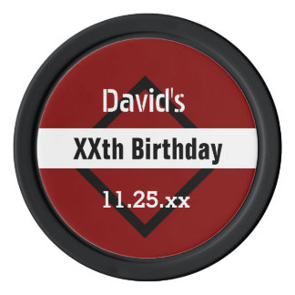 Any Year Birthday Red with Black  Frame Custom Z02 Poker Chips Set