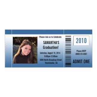 Any Year~ Blue Graduation Party Ticket 10 Cm X 24 Cm Invitation Card