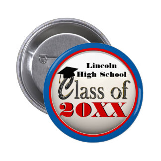 Any Year Graduation Cool Red, White & Blue Buttons
