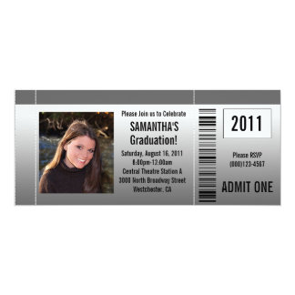Any Year~ Photo Graduation Party Ticket Invitation