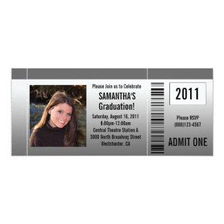 """Any Year~ Photo Graduation Party Ticket Invitation 4"""" X 9.25"""" Invitation Card"""