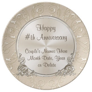 Any Year Platinum Personalized Anniversary Plate Porcelain Plate