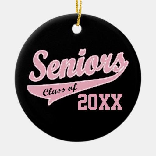 Any Year, Senior Class Pink/Black Graduation Christmas Tree Ornament