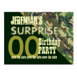 Any Year Surprise Birthday Save the Date Camo