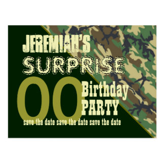 Any Year Surprise Birthday Save the Date Camo Post Cards