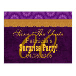 Any Year SURPRISE Birthday Save the Date Purple a1 Postcard