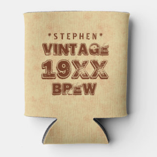 Any Year VINTAGE BREW Grunge Text Gold G11Z1 Can Cooler
