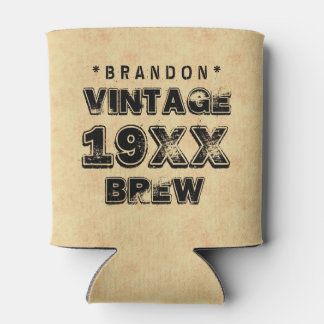 Any Year VINTAGE BREW Grunge Text Gold Z01 Can Cooler