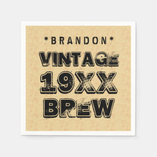 Any Year VINTAGE BREW Grunge Text Gold Z01 Disposable Napkin