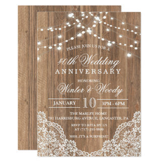 ANY YEAR - Wedding Anniversary Wood Invitation