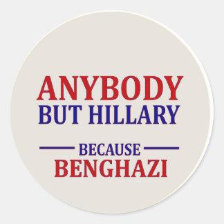 Anybody But Hillary Classic Round Sticker
