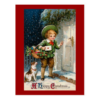 """Anybody Home ?"" Vintage Christmas Postcard"