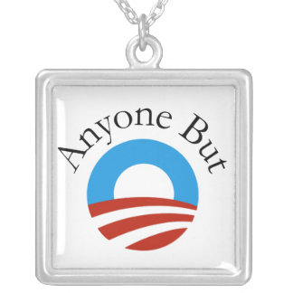 Anyone But Obama w/Logo Square Pendant Necklace