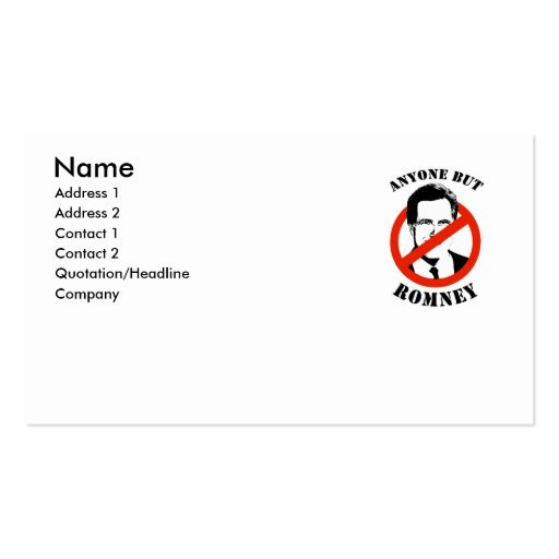Anyone but Romney Business Card Templates