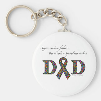 Anyone can be a father...autism basic round button key ring