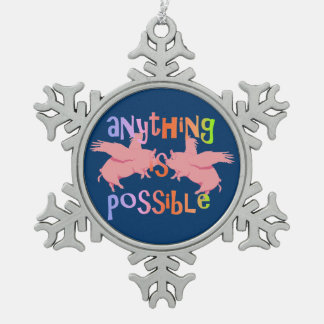 Anything is Possible Pewter Snowflake Decoration