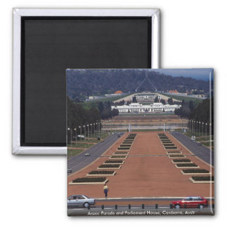 Anzac Parade and Parliament House, Canberra, Austr Fridge Magnets