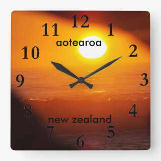 aotearoa new zealand east coast sun rise square wall clock