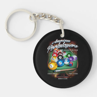 APA Pool Rack Double-Sided Round Acrylic Key Ring