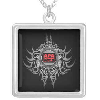 APA Table Runner Red Silver Plated Necklace