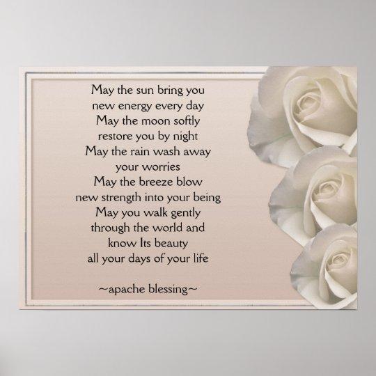 Apache Blessing-Ivory Roses Art Print Poster
