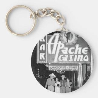 Apache Casino & Bar Vintage Las Vegas Photo Basic Round Button Key Ring