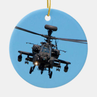 Apache Helicopter Ceramic Ornament