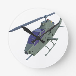 Apache helicopter in front view round clock